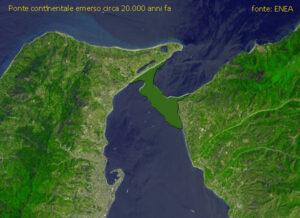 Ponte continentale emerso circa 20.000 anni fa